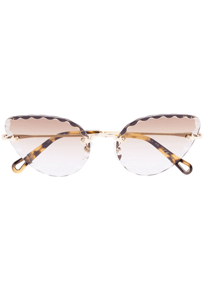 Chloé Eyewear scallop trim cat-eye sunglasses - Brown