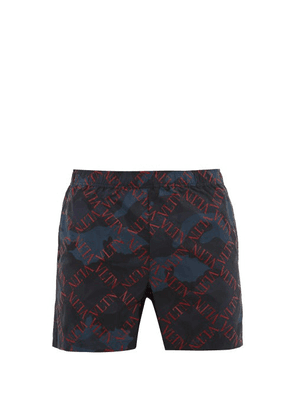 Valentino - Rockstud Camouflage And Vltn Print Swim Shorts - Mens - Navy Multi
