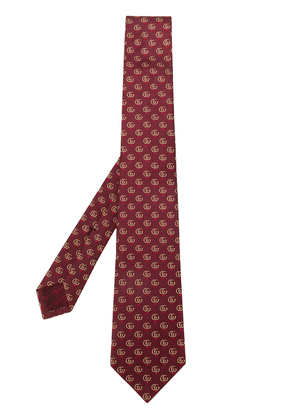 Gucci Double G and hearts silk tie - Red