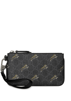 Gucci iPhone case with GG tiger print - Black