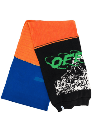 Off-White logo knitted scarf - ORANGE