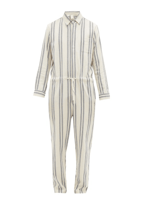 Marrakshi Life - Striped Cotton Blend Drawstring Jumpsuit - Mens - White Multi