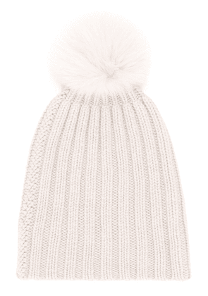 Danielapi pom-pom ribbed knit hat - NEUTRALS