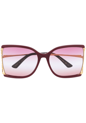 Gucci oversized square frame sunglasses - Red