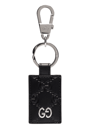 Gucci GG pattern embossed keychain - Black