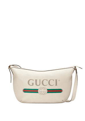 Gucci Gucci Print half-moon hobo bag - White