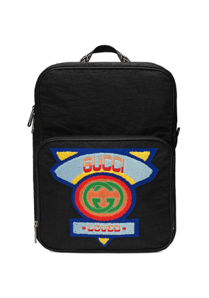 Gucci Medium backpack with Gucci '80s patch - Black