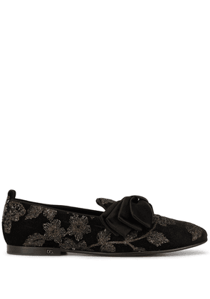Dolce & Gabbana bow detail loafers - Black