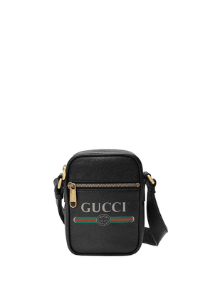 Gucci Gucci print leather shoulder bag - Black