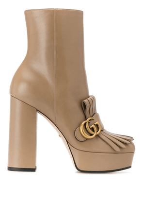 Gucci fringed platform ankle boots - Brown