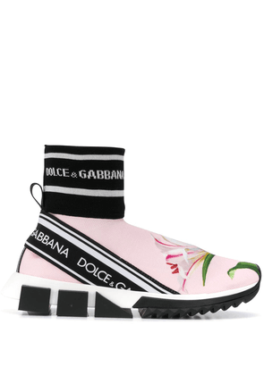Dolce & Gabbana ribbed-cuff floral logo sneakers - Pink