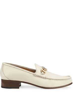 Gucci Leather loafer with Interlocking G Horsebit - White