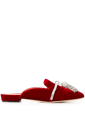 Giannico Louis embellished mules - Red