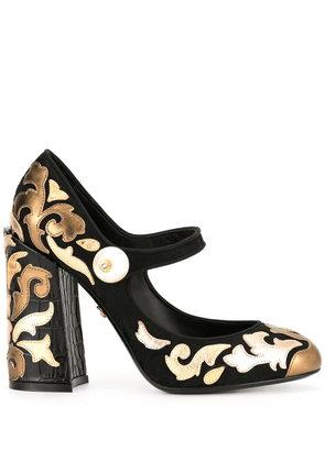 Dolce & Gabbana chunky-heel multi-patch pumps - Black