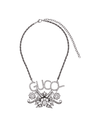 Gucci logo and floral pendant crystal necklace - Metallic