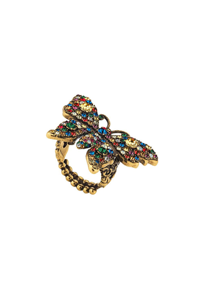 Gucci Crystal studded butterfly ring - Gold