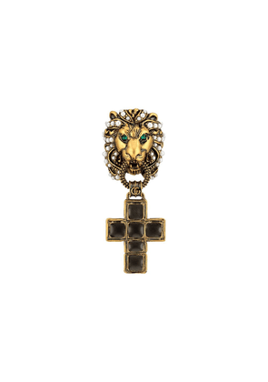 Gucci Lion head ring with cross pendant - 8489