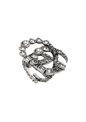 Gucci Crystal Double G ring - Silver