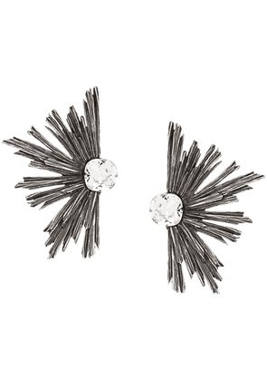 Saint Laurent metal rhinestone earrings - SILVER