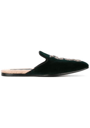 Gucci kingsnake embroidered slippers - Green