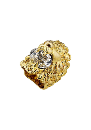 Gucci Lion head ring with crystal - Gold