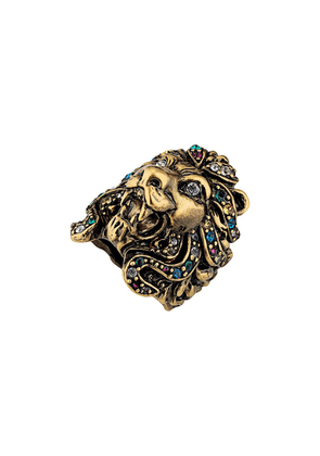 Gucci Lion head ring with multicolor crystals - GOLD