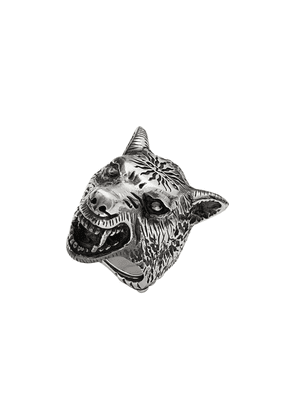 Gucci Anger Forest wolf head ring in silver