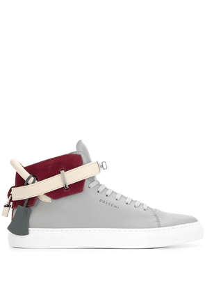 Buscemi buckled strap high top sneakers - Grey