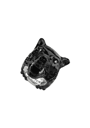 Gucci Anger Forest wolf head ring in enamel - Black