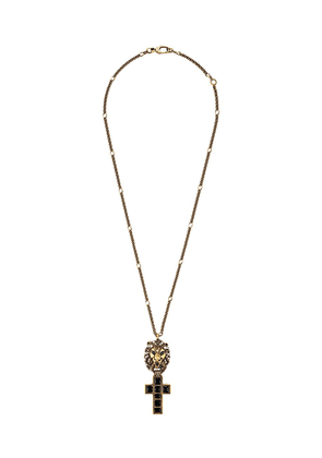 Gucci lion head cross necklace - Gold