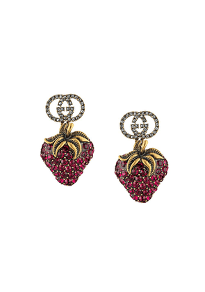 Gucci strawberry drop earrings - Gold