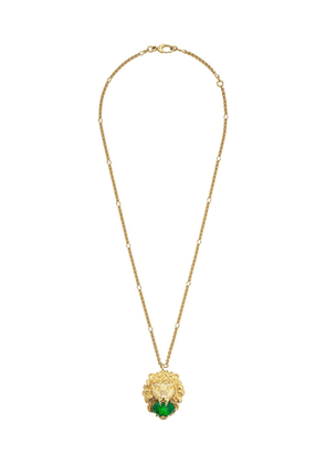 Gucci Lion head necklace with cabochon stone - Gold