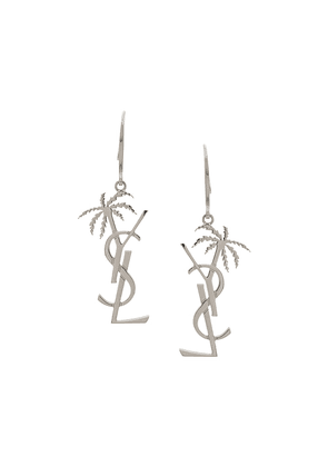 Saint Laurent monogram and palm tree pendant earring - SILVER