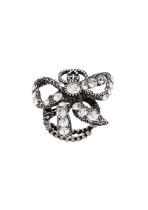 Gucci crystal embellished bow ring - Silver
