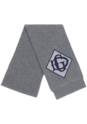 Dolce & Gabbana embroidered logo patch scarf - Grey