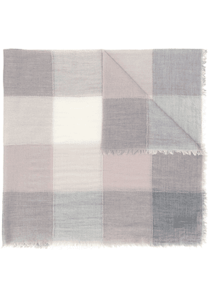D.Exterior checked patchwork scarf - Grey