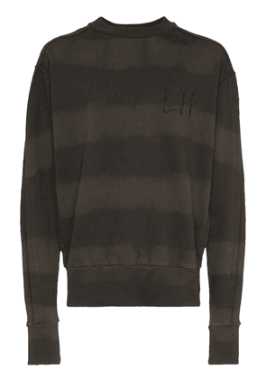 Liam Hodges bleached stripe logo embroidered cotton sweatshirt - Black