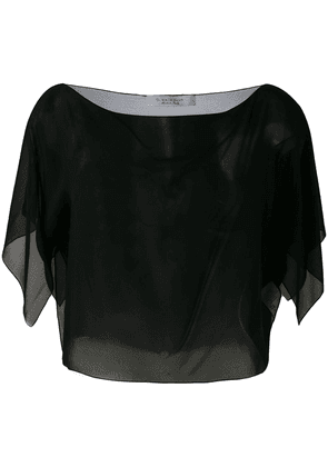 D.Exterior sheer cropped blouse - Black