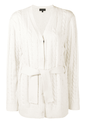 Cashmere In Love cashmere blend cable knit cardigan - White