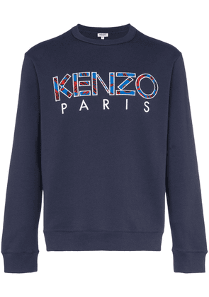 Kenzo logo-embroidered cotton sweatshirt - Blue