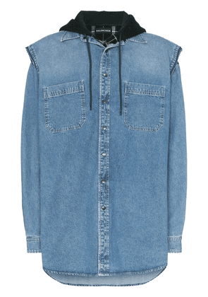 Balenciaga Layered denim shirt - Blue
