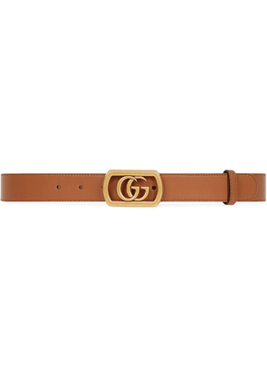 Gucci Leather belt with framed Double G - Brown