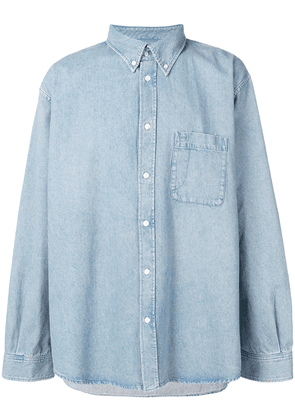 Balenciaga logo printed denim shirt - Blue