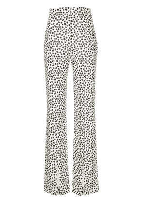 16Arlington spotted flared trousers - White