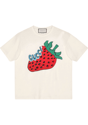 Gucci Oversize cotton T-shirt with strawberry - White