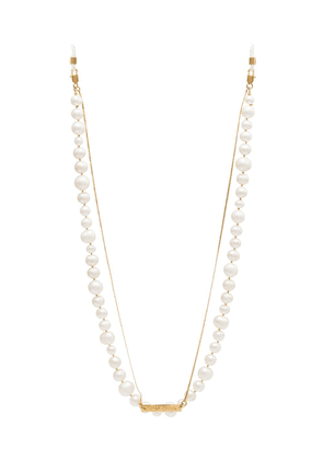 Frame Chain 18kt gold plated pearly princess chain - White