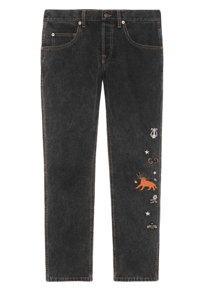 Gucci embroidered jeans - Black