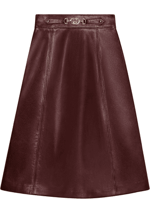 Gucci Leather skirt with Interlocking G detail - Red