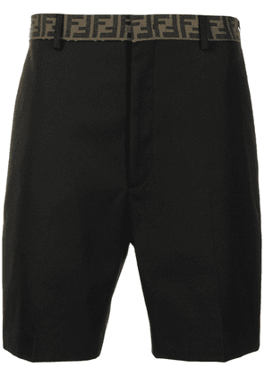 Fendi long bermuda motif shorts - Black