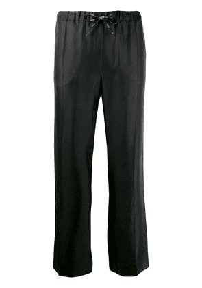 Valentino straight-leg logo ribbon trousers - Black